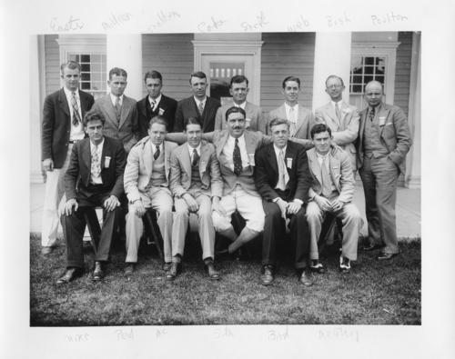 Picture has named penciled in to identify: Easts, Mildner, Donaldson, Coke, Snork, Web, Bush, Poulton, Caire,  Peid,  MC, Suth, Bird, McElroy. The 81st Ekklesia was held in Swampscott, Massachusetts at New Ocean House on June 19-22 1929. There were 406 Brothers registered for the 81st Ekklesia.