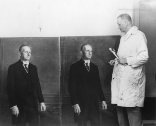 An original Calvin Coolidge (Amherst College 1895) portrait was owned and displayed by the New York Club in New York City. In the 1930s, Syracuse brother Burgess (class of 1914) was commissioned to make a copy to hang in the Phi Gamma Delta headquarters (then in Washington DC). When the New York Club closed in the 1960s, the original was moved the Phi Gamma Delta's headquarters and the copy was donated to the Smithsonian Museum.