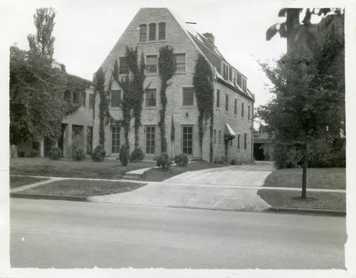 University of Nebraska Chapter house prior to 1964. Progression of vines on exterior will give a clue as to the age of the image.