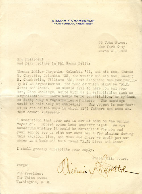 Letter from William Chamberlin to Calvin Coolidge (Amherst College 1895) seeking to establish Fiji Sires and Sons written March 31, 1925.