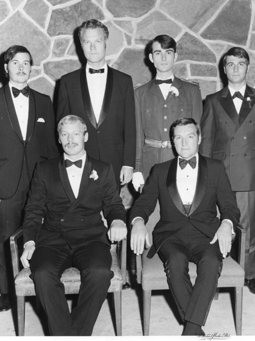University of Alberta Installation taken October 24, 1970.  Back Row: (left to right) Archie M. Zariski (University of Alberta 1971); Donald T. McKay (University of Washington 1951) (Section Chief), Randall B. Atkinson (University of Alberta 1971), Daniel M. McIntyre (University of Alberta 1972).   Front Row: (left to right) Robert A. Graesser (University of Alberta 1973) (Archon President), William R. Hauser (Denison University 1950)