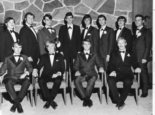 University of Alberta Installation taken October 24, 1970.    Back row: (left to right) Archie M. Zariski (University of Alberta 1971), L. Cameron Murray (University of Alberta 1972), Randall B. Atkinson (University of Alberta 1971), Roland D. Cook (University of Alberta 1975), C. Ronald Pawluk (University of Alberta 1972), Arthur J. McIntyre (University of Alberta 1971), Duane B. Schlereth (University of Alberta 1971), James E. Gould (University of Alberta 1970) (Purple Legionnaire).   Front Row: (Left to right) Brian R. Gibson (University of Alberta 1970), John C. Edwards (University of Alberta 1974), Daniel M. McIntyre (University of Alberta 1972), Robert A. Graesser (University of Alberta 1973)