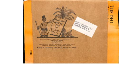 Example wrapper for a Phi Gamma Delta Magazine from 1946.  The cover allowed the magazine to be delivered through the postal service without damage to the magazine itself.