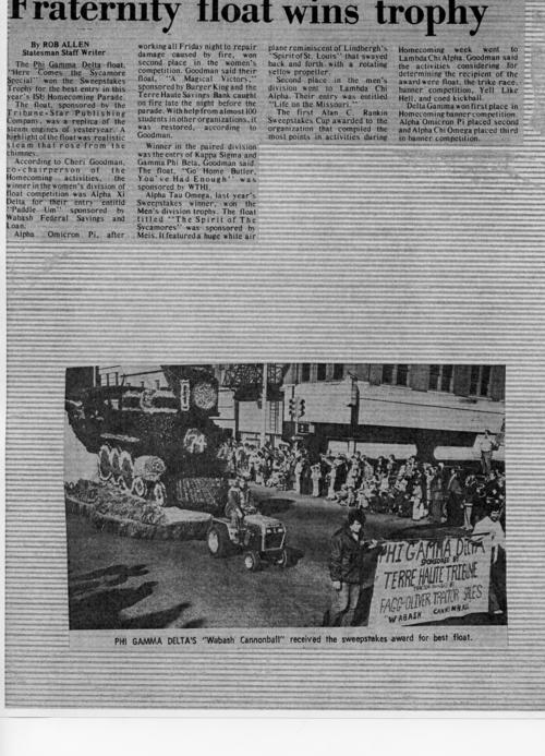 Indiana State University Wabash Cannonball Float which won the Judge's Trophy at the Indianapolis 500 Parade in 1975.