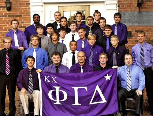 William Woods University brothers in front of chapter house., Need Year