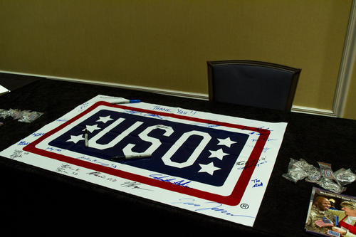 Signed USO flag.  The USO is one of the International philanthropy organizations for Phi Gamma Delta.  2015 Fiji Academy in St. Louis (Missouri) Union Station.  Fiji Academy was held on the weekend of January 3, 2015.