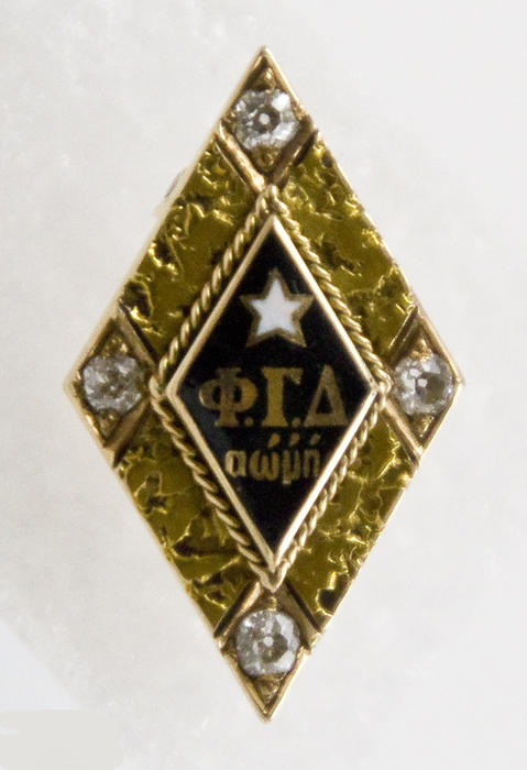 Front of a jeweled Phi Gamma Delta badge which belonged to US President, Calvin Coolidge (Amherst College 1895).