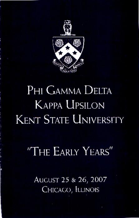 This 22 page booklet produced for an event on August 25-26, 2007 recount the early years of the Kappa Upsilon chapter at Kent State University.