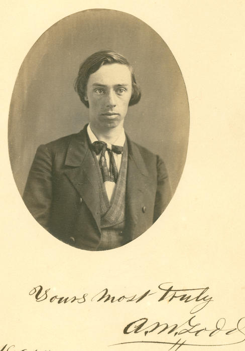 "Alexander M Todd (Washington College 1861) from Washington, Pennsylvania.  Portrait photo with inscription ""Yours most truly A.M. Todd"".  Note badge worn on knot of tie.  From Washington & Jefferson College archives."