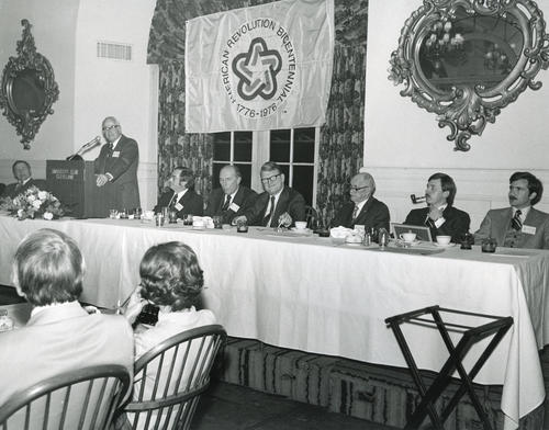 Case Western Reserve Centennial Celebration head table., Back of photo needs transcribed