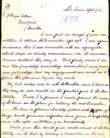 1874 Letter from George W. Griffin (Indiana Asbury 1864) to William Royce Allen...