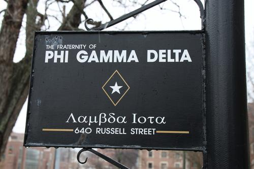 "Chapter house marker for at 640 Russell Street.  Purdue Pig Dinner honoring Eugene ""Gene"" A. Cernan (Purdue 1956).  As of the time of the dinner, Brother Cernan was one of 12 men to have walked on the moon and was the ""Last Man on the Moon"" as he was the last to enter the moon lander for Apollo 17.  Brother Cernan served on the Gemini 9A, Apollo 10 and Apollo 17 missions.  Purdue was celebrating the 40th Anniversary of the Apollo 11 mission in which the first men walked on the moon."