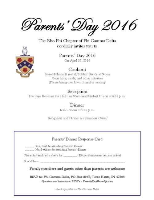 One page invitation to the parents of Rho Phi members at Rose-Hulman Institute of Technology for a day of parent events concluding with a dinner on campus.