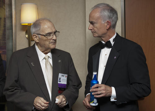 Don Mighell (University of Texas 1956, Rose-Hulman 2000) and James B. Hickey (University of Illinois 1975) at the 2014 Indianapolis Ekklesia. Picture was taken at a reception hosted by Don Mighell and Bill Miller (Indiana University 1962, Purdue University 1996) on July 26, 2014.  Don Mighell served as Archon Councilor and Archon Secretary from 1976-1980 Jim Hickey served as Archon Councilor, Archon Secretary and Archon President from 2006-2012