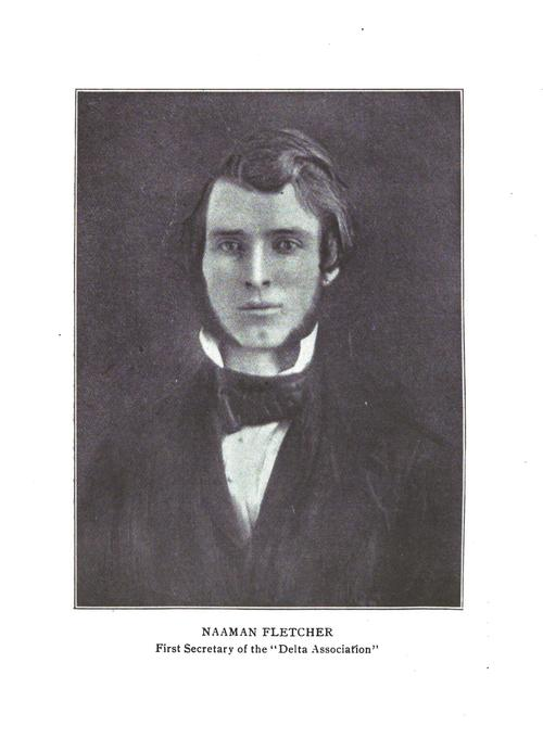 "Naaman Fletcher (Jefferson College 1849), Founder of Phi Gamma Delta , Naaman Fletcher (Jefferson College 1849) (1824-1864)  Of ""Nancy,"" as the boys called the first Secretary and second President of the ""Delta Association,"" less is known than of the other five Founders. It is of record, however, that the date of his birth was February 27, 1824, and that the place was Zanesville, Ohio. His father died when Naaman was three years old and he was adopted by a distant relative at whose expense he was educated. It seems clear that he studied law and was admitted to the bar before enrolling at Jefferson College but, realizing the insufficiency of his basic education, he entered the sophomore class at Jefferson when 23 years of age, graduating with the class of '49. From all indications, Fletcher was a very colorful, red-blooded youth. While at Canonsburg he apparently led a full life socially. Aside from much mention of the ""Delta Association,"" his fluent letters speak mostly of brown-eyed maids and occasionally of other diversions, such as fishing, hunting, ice-skating, hiking and an infrequent evening spent at the tavern ""with the boys.""  As the only one of ""The Immortal Six"" who did not graduate in 1848, Fletcher headed the chapter in its second year and his leadership had real significance in the perpetuation of our order.  After graduation, Fletcher practiced law for about two years, supposedly at Piqua, Ohio, before becoming editor of The Massillon News, which paper he published in partnership with his former classmate and brother Phi Gamma Delta, James W. Logan (Jefferson 1849). At that period in his life, he married beautiful Elizabeth Crosby, the daughter of a prominent physician, and in 1853 moved with her to Wabash, Ind. There he bought first The Gazette and later The Intelligencer, uniting the two and then serving as editor and publisher of the combined newspapers, a rabid pro-Union organ.  While legend said Fletcher caught a cold returning from an anti-secession meeting at which he had been key speaker, and died of pneumonia, this is apparently not the case. Contemporary accounts indicate he was ill for over a month with typhoid fever before his death on December 20, 1864.  Naaman's Gravesite  Fletcher was editor of the Wabash Gazette and Intelligencer until stricken with typhoid fever in November, 1864. ""He lay ill for thirty-two days. [Tomos Alpha erroneously reports the illness as of only three days' duration.] He died on Tuesday, December 20, and was buried the next day.""  In 1992, the original stone was cleaned, re-engraved, and inset into a black stone surround by the Fraternity.  Directions  Wabash, Indiana is located northeast of Indianapolis and can be reached via U.S. Route 24. Follow Business 24 into Wabash where it becomes Stitt Street. Turn left onto Falls Avenue, which will take you to Falls Cemetery. Turn right into the main entrance (by custodian's building) and follow the driveway turning right at the first opportunity. As you go up the small rise, there is a large oak tree followed by a large spruce on the right side. Fletcher's unique tombstone is next and is easy to spot, right beside the road and framed in black stone, in Section OP, Lot 186, space 1."