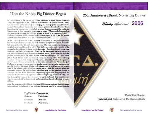 Pig Dinner program for the Theta Tau chapter at Tennessee Technological University.  This program was on the occasion of the 25th anniversary of the chapter.  The program is eight pages in length and is in color.