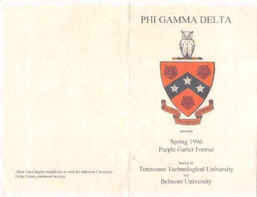 Four page color program from Spring 2006 Purple Garter.  The Tennessee Tech chapter hosted this formal with the Belmont University Delta Colony.  The program is four pages in length.