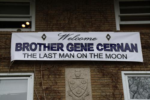 "Banner welcoming Gene Cernan for Pig Dinner.  Purdue Pig Dinner honoring Eugene ""Gene"" A. Cernan (Purdue 1956).  As of the time of the dinner, Brother Cernan was one of 12 men to have walked on the moon and was the ""Last Man on the Moon"" as he was the last to enter the moon lander for Apollo 17.  Brother Cernan served on the Gemini 9A, Apollo 10 and Apollo 17 missions.  Purdue was celebrating the 40th Anniversary of the Apollo 11 mission in which the first men walked on the moon."