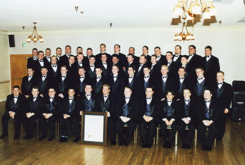 Beta Sigma at Ball State University Chartering on February 24th, 2001. Undergraduates with Charter.
