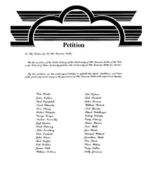 Gamma Kappa chapter at Colorado School of Mines Chartering Petition.  The installation for the Gamma Kappa chapter was held on March 23, 1985.  The document was 12 pages in length.