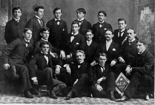 "1895 Group Picture of the Delta Chapter at Bucknell University  From the Bucknell University archives:  Leo Riemer is fourth from the left in the second row and Bromley Smith is to the right of him. Phi Gamma Delta was the male fraternity with the most members in 1895. The other established social fraternities at Bucknell were Phi Kappa Psi , Sigma Alpha Epsilon and Sigma Chi. There were other ""secret societies"" at the university in 1895, including Phi Epsilon, a local fraternity which had just been organized on January 15, 1895 and which became Kappa Sigma on December 11, 1896. This photograph is taken from the 1896 L'Agenda."