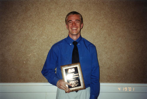 Grant Nichols (University of New Mexico 2002)  selected as Outstanding Senator at New Mexico at reception on April 18, 2001