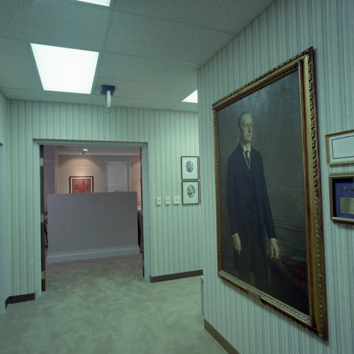 New International Headquarters Building in July 1985. The building was dedicated on May 18, 1985.  Calvin Coolidge (Amherst College 1895) portrait in front hallway near museum.