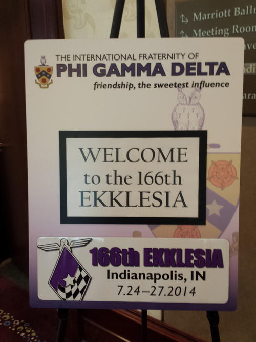 Welcome sign for Ekklesia.  The 166th Ekklesia in July 2014 was held at the Downtown Marriott in Indianapolis, Indiana. There were 690 brothers and guests in attendance.
