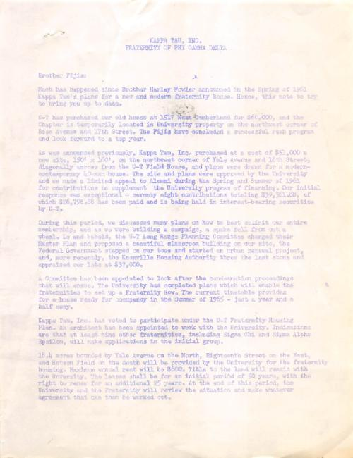 Fundraising letter from John H. Swan (University of Tennessee 1953) serving as president of Kappa Tau, Inc.  The letter was soliciting money for the construction of a chapter house.  The letter is two pages in length., The letter is a spirit duplicator copy of the original letter.
