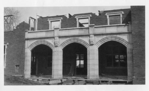 Demolition of the Wabash College Chapter house in Crawfordsville, Indiana.