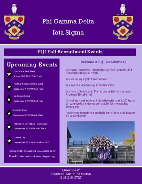 One page color flyer outlining six fall 2016 recruitment events for the Iota Sigma chapter at Indiana State University.