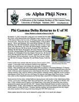 2013 Summer Newsletter Alpha Phi (University of Michigan)
