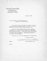 1984 Letter from Norman Vincent Peale (Ohio Wesleyan 1920) to Washington and...