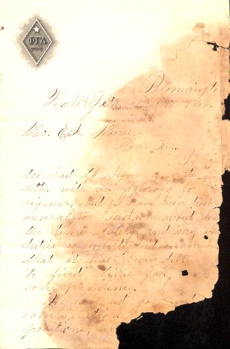 One page partial letter from the Zeta chapter to [presumed] the Tau chapter at Hanover College.  The letter's author is unknown but appears to be written to E.A. Moorse who does not appear in fraternity records as a member of the Tau chapter or any other chapter.