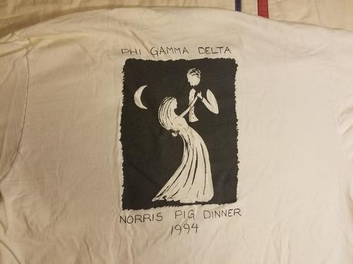 Back of the 1994 Virginia Tech 22nd Annual Pig Dinner T-Shirt