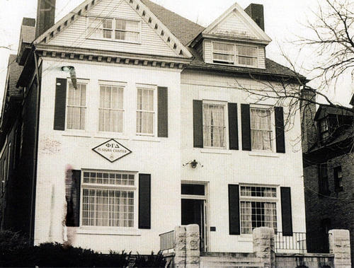 "1968 Pi Sigma Chapter House at University of Pittsburgh.   The Pi Sigma chapter house was purchased in 1919 from University of Pittsburgh Chancellor Samuel Black McCormick, Sr. (Washington & Jefferson College 1880).  Samuel McCormick created the local Phi Zeta Phi fraternity when he was chancellor with the intent of having it become a Phi Gamma Delta chapter.  McCormick owned the house and rented it the fraternity.  After Pi Sigma was chartered in 1916, McCormick sold it to Pi Sigma for $19,000.00 with the help of Roland McCrady (University of Pittsburgh 1911) and Roland's father who took out the mortgage.  Pi Sigma sold the house in 1999.  The house address was 4725 Wallingford Street, Pittsburgh, Pennsylvania  15213.  It was reported to be haunted by a friendly spirit known as ""Brother Basco""."