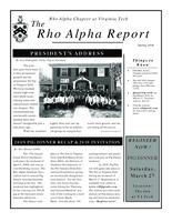 2010 Spring Newsletter Rho Alpha (Virginia Polytechnic Institute and State University)...