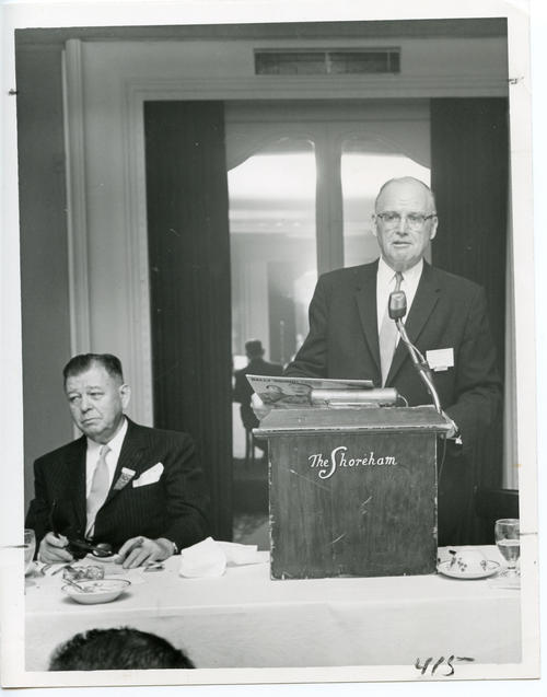 Archon President Stanley T. Wallbank (University of Colorado 1917), introduces guest of honor at 1960 Ekklesia (Front). The 112th Ekklesia was held in Washington, DC at the Shoreham Hotel, on August 24-27, 1960. There were 605 Brothers registered for the 112th Ekklesia.