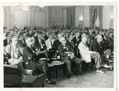 "The Delegates in Session at 112th ""Wilkinson"" Ekklesia (Front). The 112th Ekklesia was held in Washington, DC at the Shoreham Hotel, on August 24-27, 1960. There were 605 Brothers registered for the 112th Ekklesia."