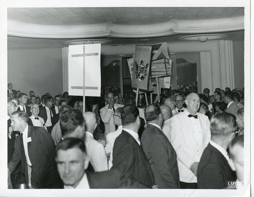 "Standing Ovation for the ""Scoop"" at the 1960 Ekklesia (Front). The 112th Ekklesia was held in Washington, DC at the Shoreham Hotel, on August 24-27, 1960. There were 605 Brothers registered for the 112th Ekklesia."