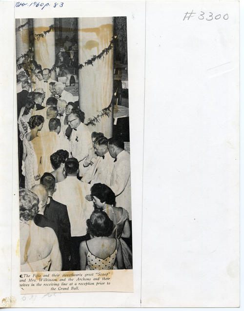"The FIJIs and their sweethearts greet ""Scoop"", Mrs. Wilkinson, and the Archons (Back). The 112th Ekklesia was held in Washington, DC at the Shoreham Hotel, on August 24-27, 1960. There were 605 Brothers registered for the 112th Ekklesia."