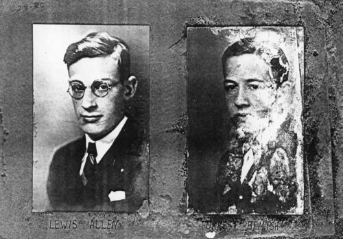 Hanover College brothers on left: Lewis Allen (Hanover College 1933), on right: Forest Bemish (Hanover College 1933).  Pictures are part of a damaged composite which has been cut into sections.