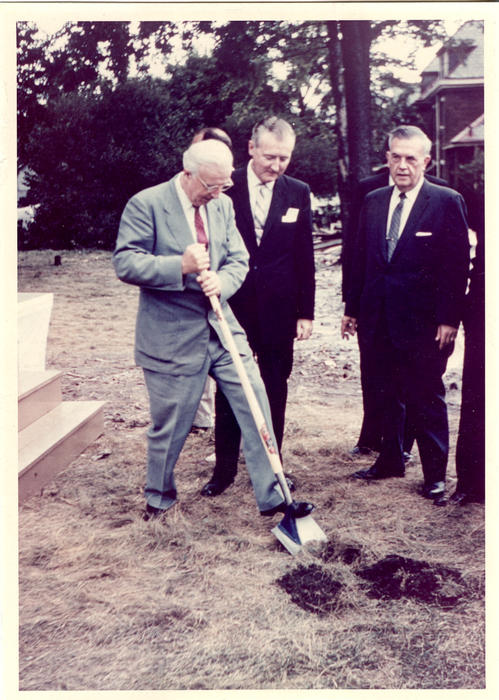 Philip C. Ebeling (Ohio Wesleyan University 1928) at Theta Deuteron groundbreaking for what will become Wilkinson Lodge.  Philip C. Ebeling Service to Phi Gamma Delta  1950-1954 - Fraternity Ritualist 1954-1956 - Archon Secretary 1956-1958 - Archon President