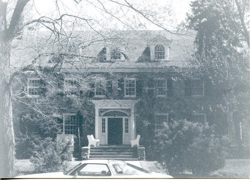"Exterior shot of Bucknell University chapter house. ""The Grey Stone Mansion""."
