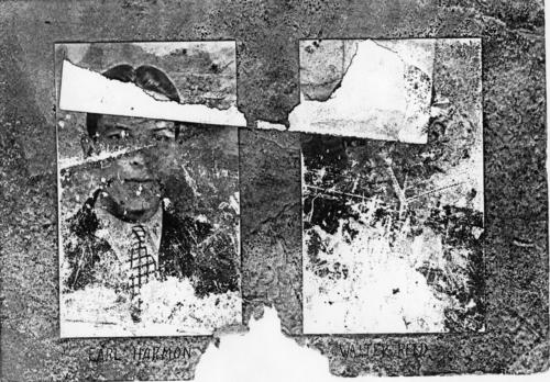 Hanover College brothers on left: Earl Harmon (Hanover College 1931), on right: Walter Reed (Hanover College 1930).  Pictures are part of a damaged composite which has been cut into sections.