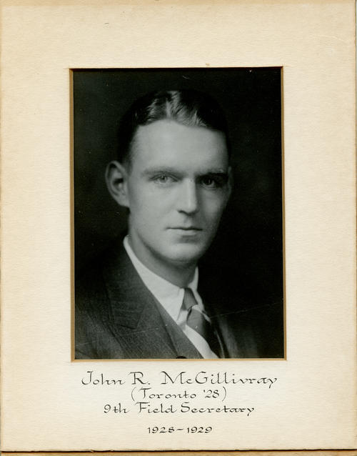 John R. McGillivray (University of Toronto 1928) served as field secretary from 1928 through 1929. Brother McGillivray is designated ROTPS number 9.
