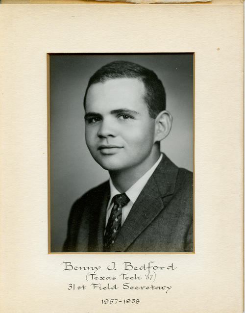 Benny J. Bedford (Texas Tech University 1957) served as field secretary from 1957 through 1958. Brother Bedford is designated ROTPS number 31.