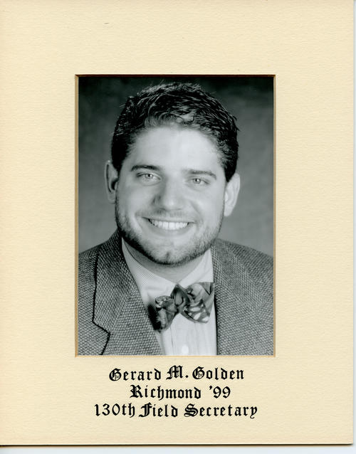 Gerard M. Golden (University of Richmond 1999) served as field secretary from 1999 through 2000. Brother Golden is designated ROTPS number 130. Additional Service to Phi Gamma Delta includes Headquarters Staff.