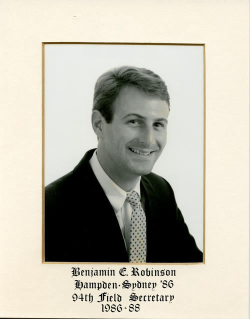 Benjamin E. Robinson (Hampden-Sydney College 1986) served as field secretary from 1986 through 1988. Brother Robinson is designated ROTPS number 94. Additional Service to Phi Gamma Delta includes Headquarters Staff and Executive Director of Phi Gamma Delta Foundation.