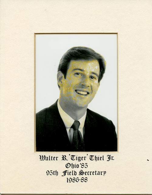 "Walter R. ""Tiger"" Thiel Jr. (Ohio University 1985) served as field secretary from 1986 through 1988. Brother Thiel is designated ROTPS number 95."